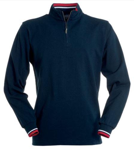 Polo manica lunga, con chiusura mezza zip, profilo colorato su interno colleto e bordo maniche. Colore blu navy