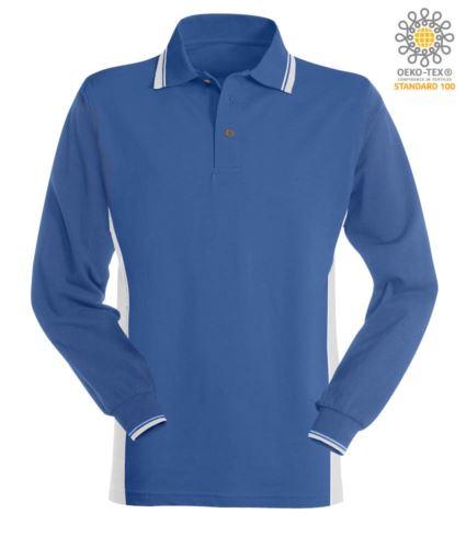 Polo manica lunga bicolore, doppio piping sul colletto, polsini e fascia laterale. Colore azzurro royal/bianco
