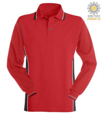 Polo manica lunga bicolore, doppio piping sul colletto, polsini e fascia laterale. Colore rosso/grigio