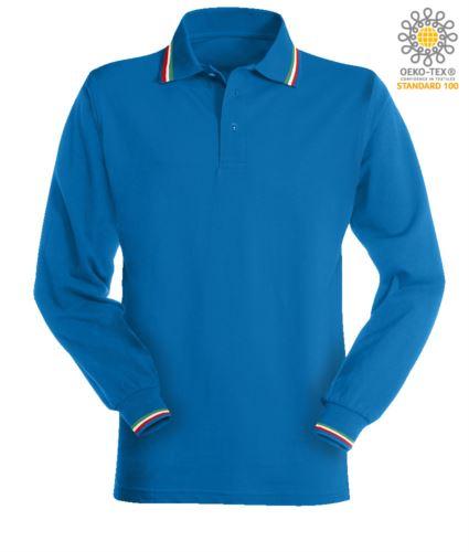 Polo a manica lunga con profili tricolore su colletto e polsino maniche. Colore azzurro royal
