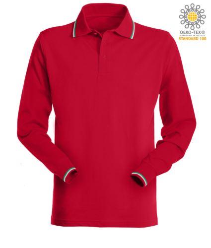 Polo a manica lunga con profili tricolore su colletto e polsino maniche. Colore rosso