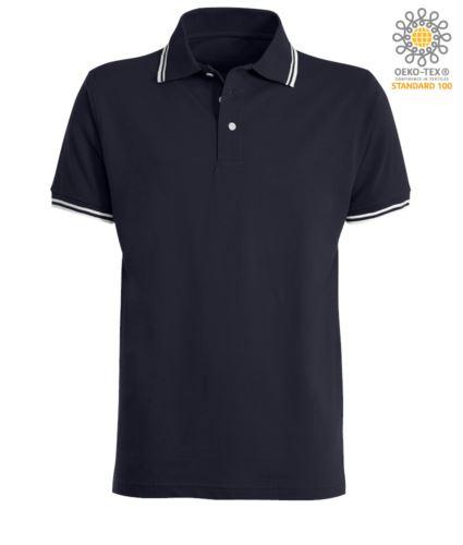 Polo da lavoro bicolore, collo e bordo manica in contrasto. Colore: Blu Navy, bordino Bianco