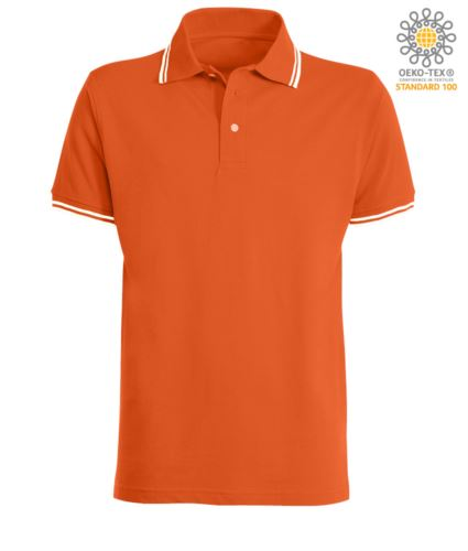 Polo da lavoro bicolore, collo e bordo manica in contrasto. Colore: Arancio, bordino Bianco