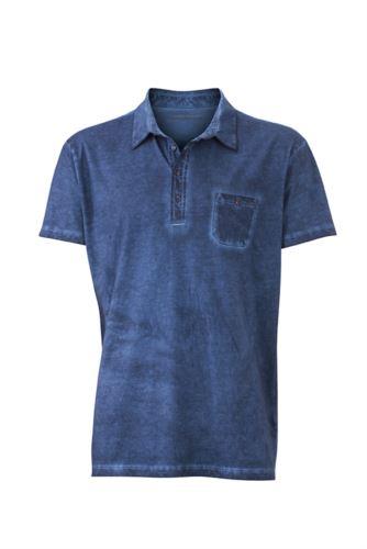 Polo manica corta con taschino, taglio attillato, colore blu