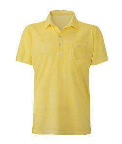 Polo manica corta con taschino, taglio attillato, colore giallo