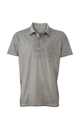 Polo manica corta con taschino, taglio attillato, colore grigio chiaro