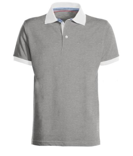 Polo da lavoro bicolore in cotone, colletto e fondo manica in contrasto, colore grigio melange