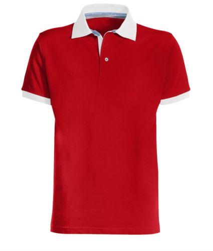 Polo da lavoro bicolore in cotone, colletto e fondo manica in contrasto, colore rosso