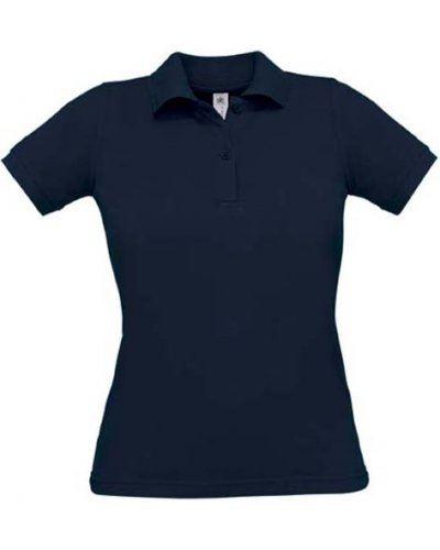 Polo donna manica corta, due bottoni in tinta, colore navy blu