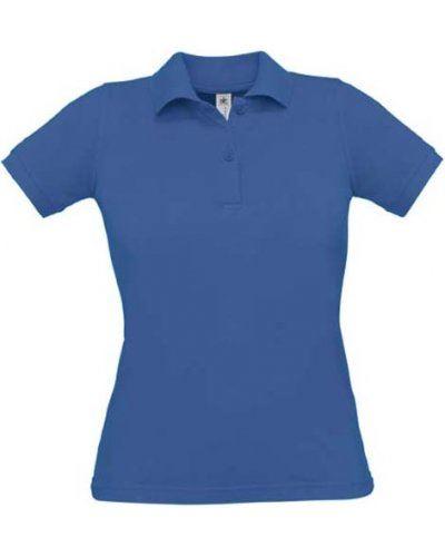 Polo donna manica corta, due bottoni in tinta, colore royal blu