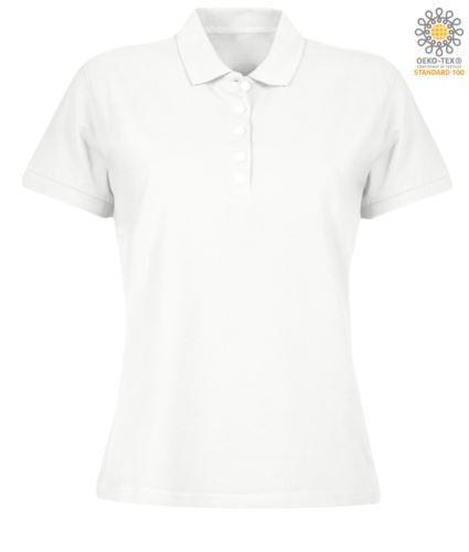 Polo donna manica corta in jersey, colore bianco