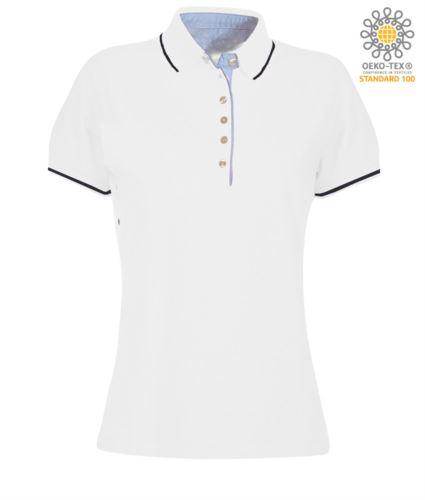 Polo da donna manica corta bicolore, interno collo e fessino in Oxford celeste, colletto e maniche con dettaglio in contrasto. Colore Bianco / Blu Navy