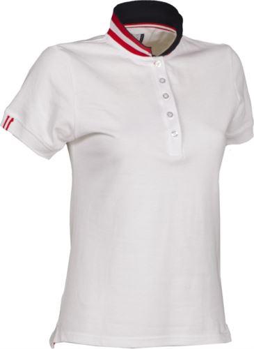 Polo a maniche corte donna in cotone piquet, colletto con contrasto tricolore visibile a colletto alzato. Colore bianco/Austria