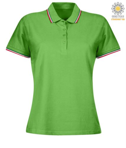 Polo donna manica corta con profilo tricolore sul colletto e fondo manica, in cotone. Colore Verde Chiaro
