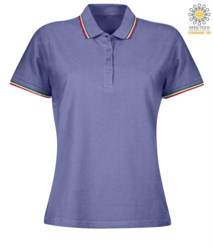 Polo donna manica corta con profilo tricolore sul colletto e fondo manica, in cotone. Colore Viola Chiaro