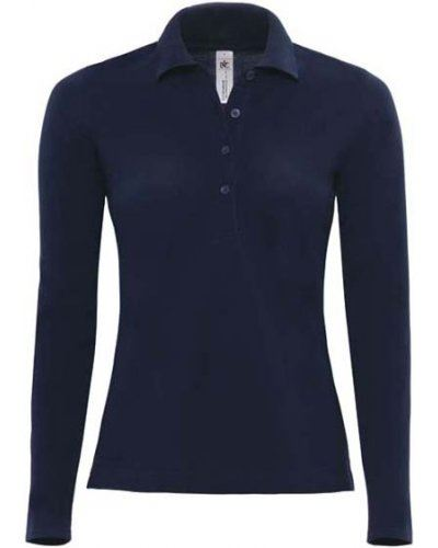 Polo manica lunga donna da lavoro 100% Cotone pettinato, colore blu navy