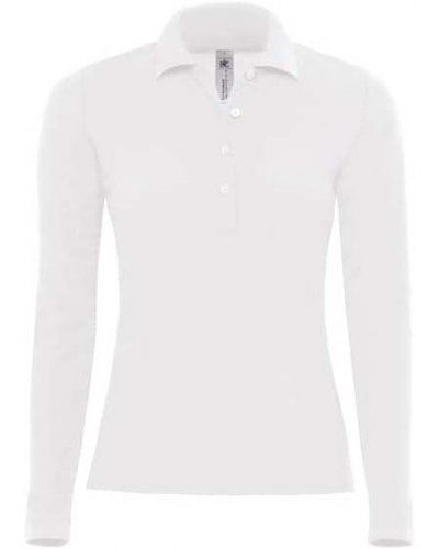 Polo manica lunga donna da lavoro 100% Cotone pettinato, colore bianco