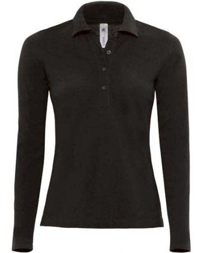 Polo manica lunga donna da lavoro 100% Cotone pettinato, colore nero