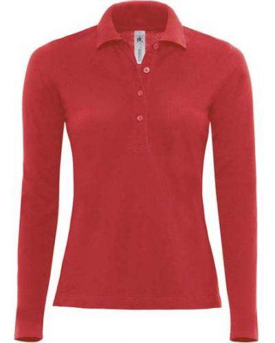 Polo manica lunga donna da lavoro 100% Cotone pettinato, colore rosso