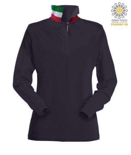 Polo manica lunga donna con elementi tricolore su colletto e fessino. Colore blu navy