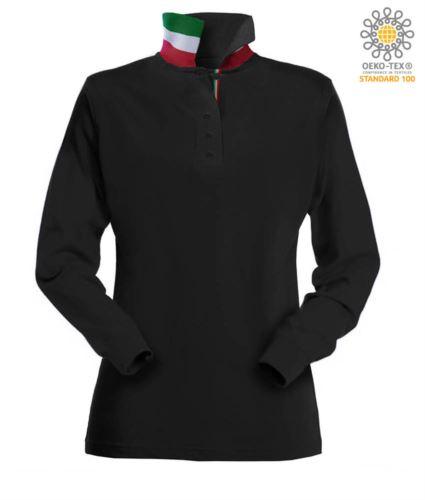Polo manica lunga donna con elementi tricolore su colletto e fessino. Colore nero