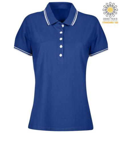 Polo donna da lavoro bicolore, collo e bordo manica in contrasto. Colore azzurro royal, bordino bianco