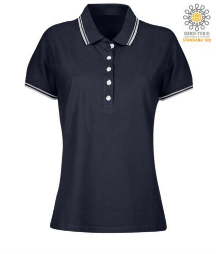 Polo donna da lavoro bicolore, collo e bordo manica in contrasto. Colore blu navy, bordino bianco