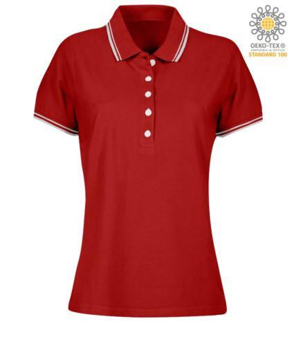 Polo donna da lavoro bicolore, collo e bordo manica in contrasto. Colore rosso, bordino bianco