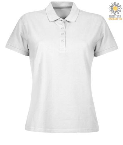 Polo donna a maniche corte chiusura quattro bottoni, 100% Cotone. Colore bianco
