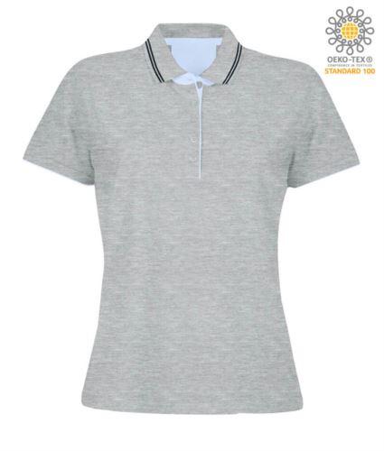 Polo manica corta in jersey donna, colletto e fondo manica in rib con doppio piping, rinforzo interno collo, colore grigio melange