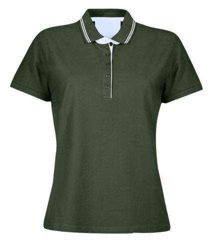 Polo manica corta in jersey donna, colletto e fondo manica in rib con doppio piping, rinforzo interno collo, colore verde