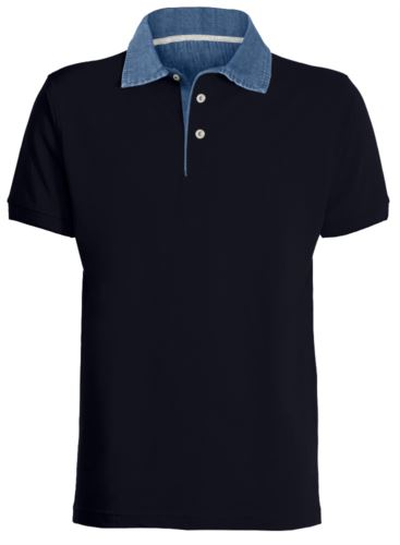 Polo manica corta colletto in Denim