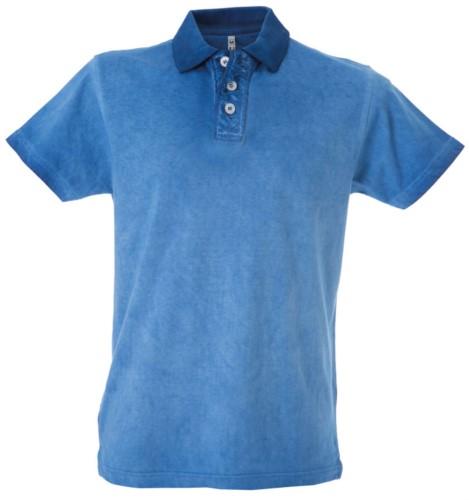 Polo manica corta vintage, tinta a freddo, aspetto vintage, fessino stropicciato, colore azzurro royal