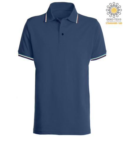 Polo pique tricolore manica corta, spacchetti laterali, tre bottoni in tinta, made in italy, colore blu navy