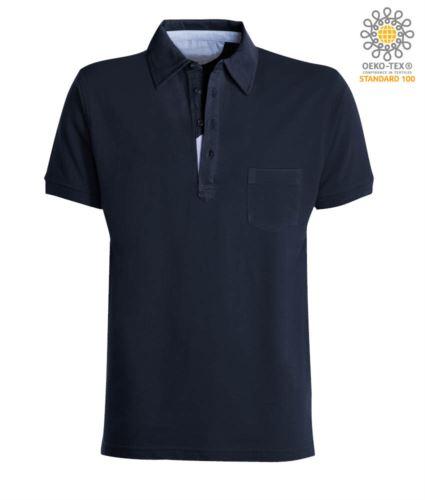 Polo manica corta con taschino, colletto con inserti in oxford nel colletto, colore blu denim