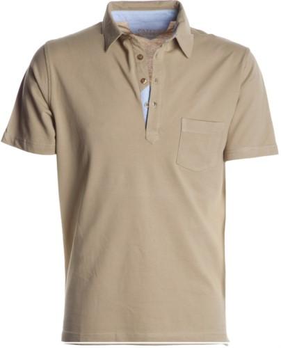 Polo manica corta con taschino, colletto con inserti in oxford nel colletto, colore beige