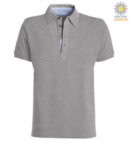 Polo manica corta con taschino, colletto con inserti in oxford nel colletto, colore grigio melange