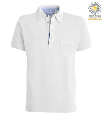 Polo manica corta con taschino, colletto con inserti in oxford nel colletto, colore bianco