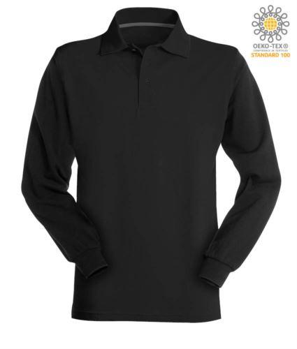 Polo manica lunga in cotone piquet colore nero