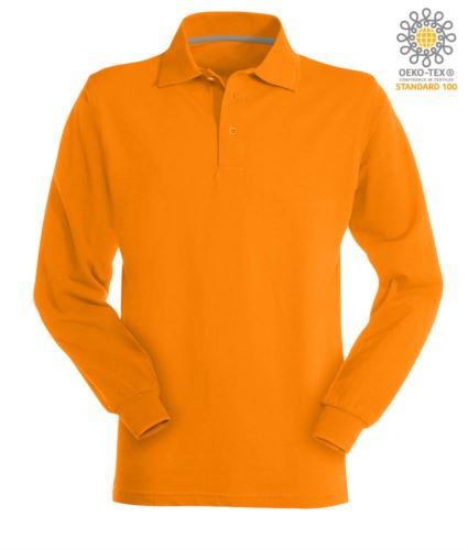 Polo manica lunga in cotone piquet colore arancione