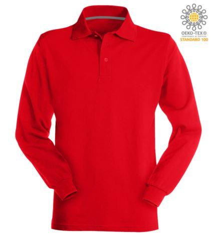 Polo manica lunga in cotone piquet colore rosso