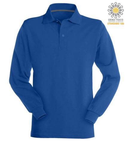 Polo manica lunga in cotone piquet colore blu royal