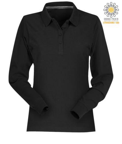 Polo manica lunga donna in cotone piquet colore nero