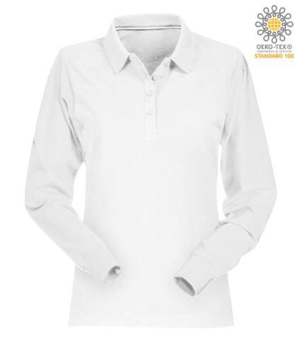 Polo manica lunga donna in cotone piquet colore bianco