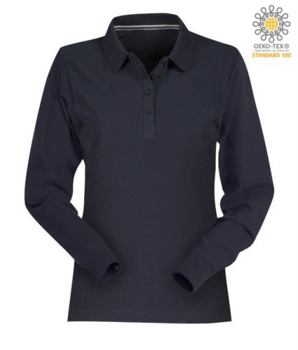Polo manica lunga donna in cotone piquet colore blu navy