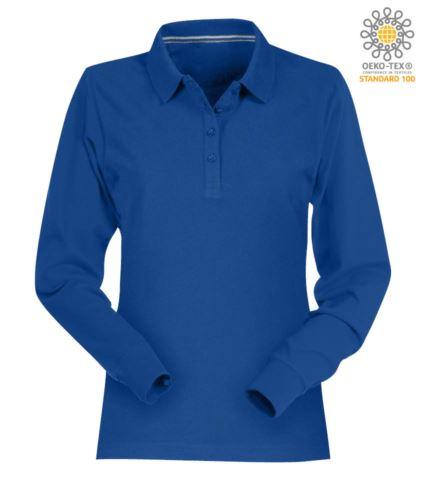 Polo manica lunga donna in cotone piquet colore azzurro royal