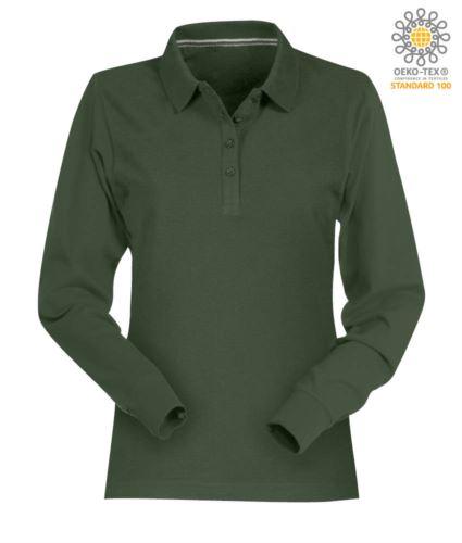 Polo manica lunga donna in cotone piquet colore verde