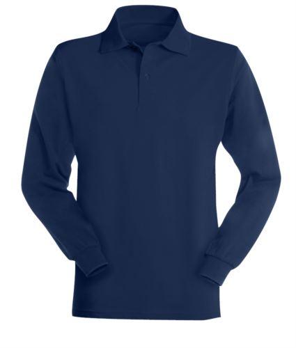 Polo a manica lunga ignifuga e antistatica, colletto con 3 bottoni e polsini elasticizzati, colore blu navy, Certificata EN 1149-5, EN 11612:2009