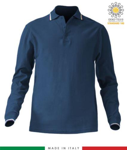 Polo pique tricolore manica lunga, spacchetti laterali, tre bottoni in tinta, made in italy, colore blu navy