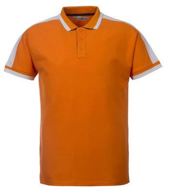 Polo tecnica da lavoro manica corta con inserti di colore a contrasto sul collo, giromanica e spalle; colore arancione, bianco e grigio